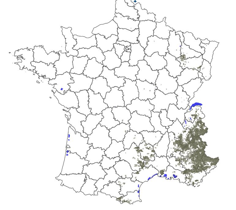 Carte répartition du loup en France 2018 - Source ONCFS